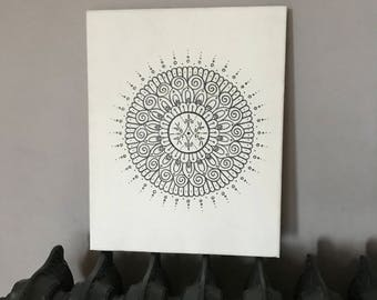 Hand-draw mandala on stretched canvas - 'The Esme Canvas'