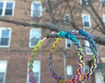 Rainbow hemp hoop earrings