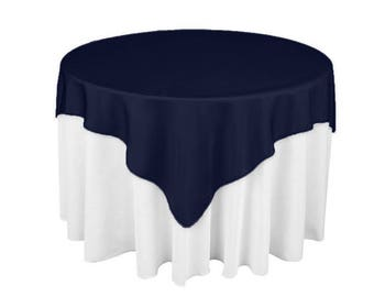 Navy 60 x 60 Square Overlay 100% Woven Polyester Tablecloth for Banquets, Weddings & Parties