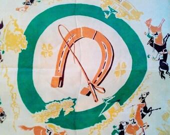 Horse Racing, Racetrack - Silk Scarf - Lucky Horseshoe - Equestrian 1950's