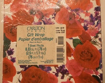Vintage Carlton Cards Wrapping Paper, Rose