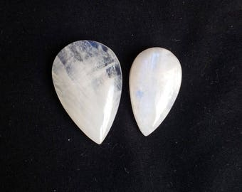 Natural White Rainbow Moonstone 84 Carat 02 Piece Gemstone, Gemstone Size 36x25x8, 32x18x10 MM Approx, White Rainbow Stone Wholesale Supply