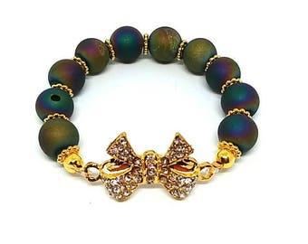 Rainbow druzy bracelet
