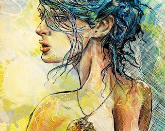 portrait,digital art, print, drawing, watercolor, colorfull