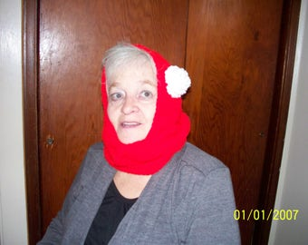 Red Cowl with a Hood Accented with Large White Rose.