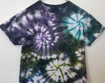 Purple, Aqua, Green, Blue, Pink and Black Multi-Swirl Tie Dye T-Shirt, Adult Size Small