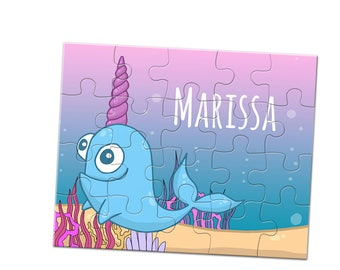 Narwals Jigsaw Puzzle - 20 Piece Puzzle - Custom Name Puzzle - 8 x 10 Puzzle - Children's Puzzle - Stocking Stuffer - Kids Jigsaw Puzzle