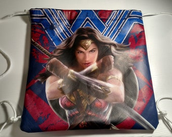 Wonder Woman Drawstring Backpack Bag