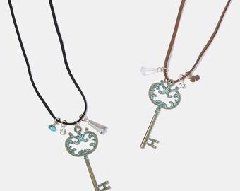 Vintage Key Suede Necklace
