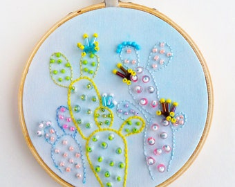 Blue Prickly Pear beaded embroidery hoop wall art