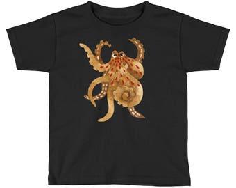 Angry octopus Kids Short Sleeve T-Shirt. Ocean print childrens apparel, Beach shirt, Watercolor octopus, Black shirt, Boys tee, Unisex tee.