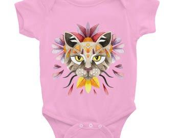 Watercolor cat design Infant Bodysuit, colorful floral animal painting, baby girls shirt, babyshower gift, geometric animal portrait.