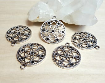 Seed of life Pendant 5 Flower of life Mandala Sacred geometry Charm Antique Silver Yoga Necklace Circle Rhinestone Settings Flower Symbol