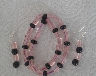 Double row bracelet and matching earrings