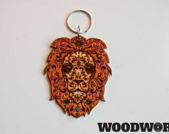 Lions Head sugar skull keychain