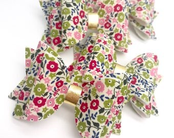Liberty pink english garden blooms flowers floral fabric Medium hair bow clip headband hair accessories