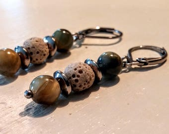 Earrings with Tiger eye gemstone and lava stones.