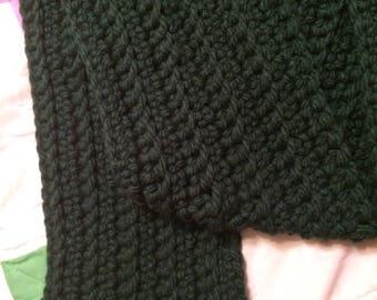 Hand Crocheted Dark Green Scarf