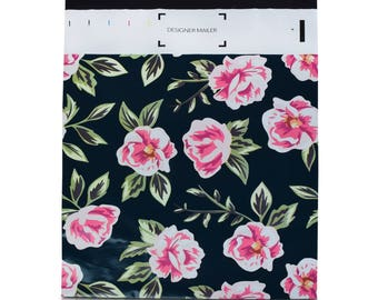 100 Pack 10x13 Pink and Green Flowers Poly Mailers Envelopes with Custom Designer Printed Boutique Pattern and Self Seal Adhesive Strip