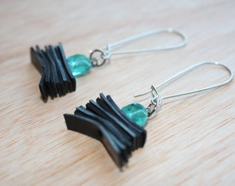 Turquoise beads with bike inner tube layers earrings
