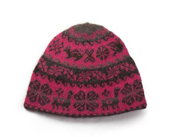 Hand made knitted hat - pink / grey