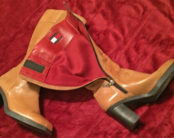 90's TOMMY HILFIGER  Leather High-Calf Boots  - Block Heels - Square Toe - Size 7.5  M