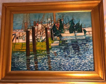 Original Evening at the dock Impressionist Oil painting