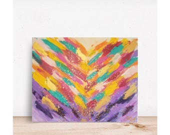 Violet art, colorful painting, colorful art, colorful artwork, abstract painting, abstract wall art, rainbow, colorful decor, 16x20 painting