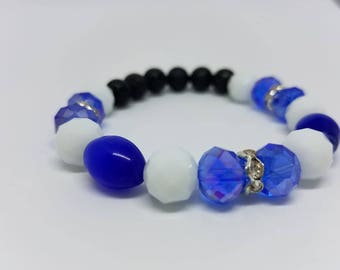 Blue and White Diffuser Bracelet-Lava Stone Bracelet-Kentucky Wildcats Colored Jewelry-Aromatherapy Bracelet-KY Wildcat Fan Jewelry-Healing