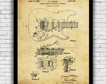 Vintage Fender Guitar Patent Diagram - wall art print (w/ optional frame)