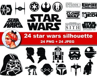 24  Star Wars Silhouettes- clip art - Scrapbooking , Instant Download (No. 9)