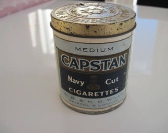 Capstan Navy Cut Medium Cigarette Tin (50/empty) by W D & H O Wills c.1940/50
