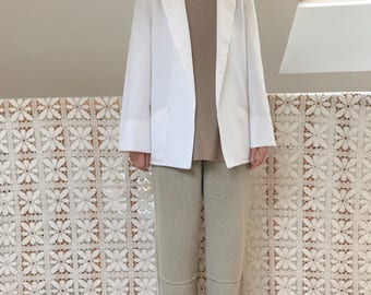 White vintage Blazer minimalist effect embossed cotton linen