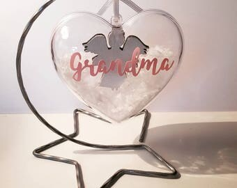 Personalised hanging angel heart bauble on a stand