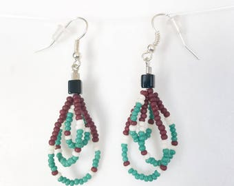 Beaded earrings,Beautiful handmade jewelry, Triple hoop of turquoise and red seed beads, Bohemian style, gypsy style, Native American