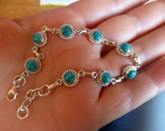 Nice flexible bracelet with 925 Silver with turquoise punch