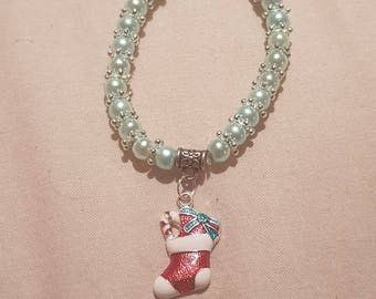 New kids 6mm Pearls Beads stretch bracelet with Christmas stocking