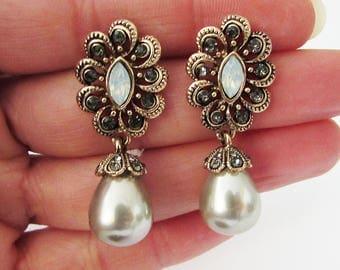 Taupe Pearl Earrings for Wedding, Mink Pearl Earrings, Bridal Earrings, Earrings for Wedding, Crystal Earrings, Pearl Wedding Jewelry
