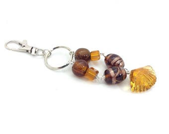 Brown lampwork beaded keychain bag charm keyring
