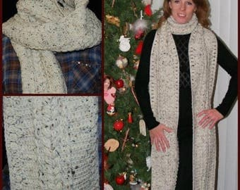 Erin ~ Extra Long Cabled Scarf (Oatmeal)