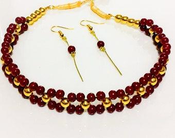 Bead choker jewellery set