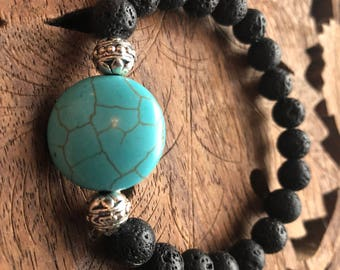 Turquoise Dyed Howlite Silver Diffuser Bracelet