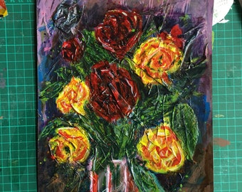 Red and Yellow Roses - Framed