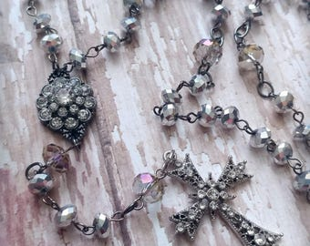 Clear and Rhinestone Rosary: glass beads