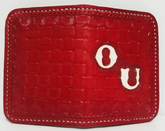 Leather hand made Oklahoma wallet.