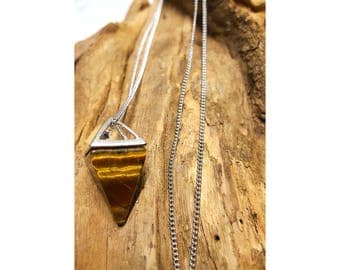 Tiger Eye Pyramid Long Chain Necklace