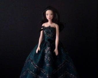 Handmade Barbie Strapless Gown in Green, Black, and Silver with Black Bows