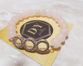 Rose Quartz Natural Stone Bracelet With Triple Hoop, Beaded Bracelet, Essential Oil Bracelet, Women Bead Bracelet, Rose Quartz, Rose Gold