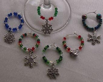 Christmas Wine Charms - set of 6