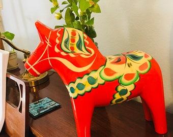 Swedish Dala Horse 12 inch, Dala Horse, Red Horse, Made in Sweden